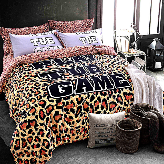 Leopard Print And Camouflage Bedding Set Queen King Size Brushed Cotton  Fabric Warm Winter Bed Sheets