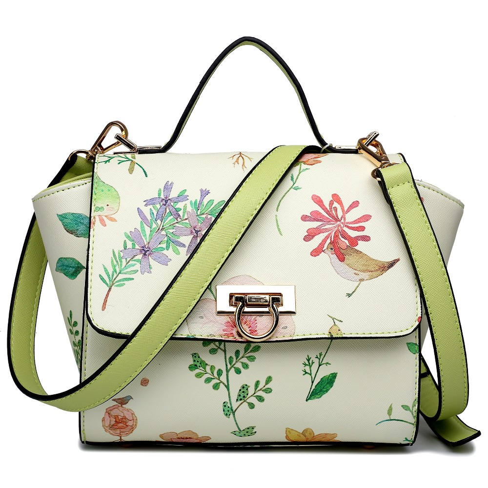 ФОТО Fashion women girl PU leather style floral  print winged satchel shoulder bag handbags crossbody bags school bags