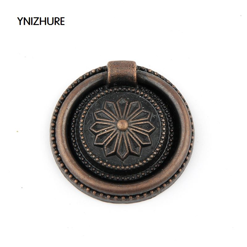 YINZHURE 30pcs 30mm Ring style single hole antique bronze knob zinc alloy furniture cabinet antique handle drawer pull bqlzr 68x43mm zinc alloy antique bronze dresser drawer cabinet door ring lion head pull handle with screws