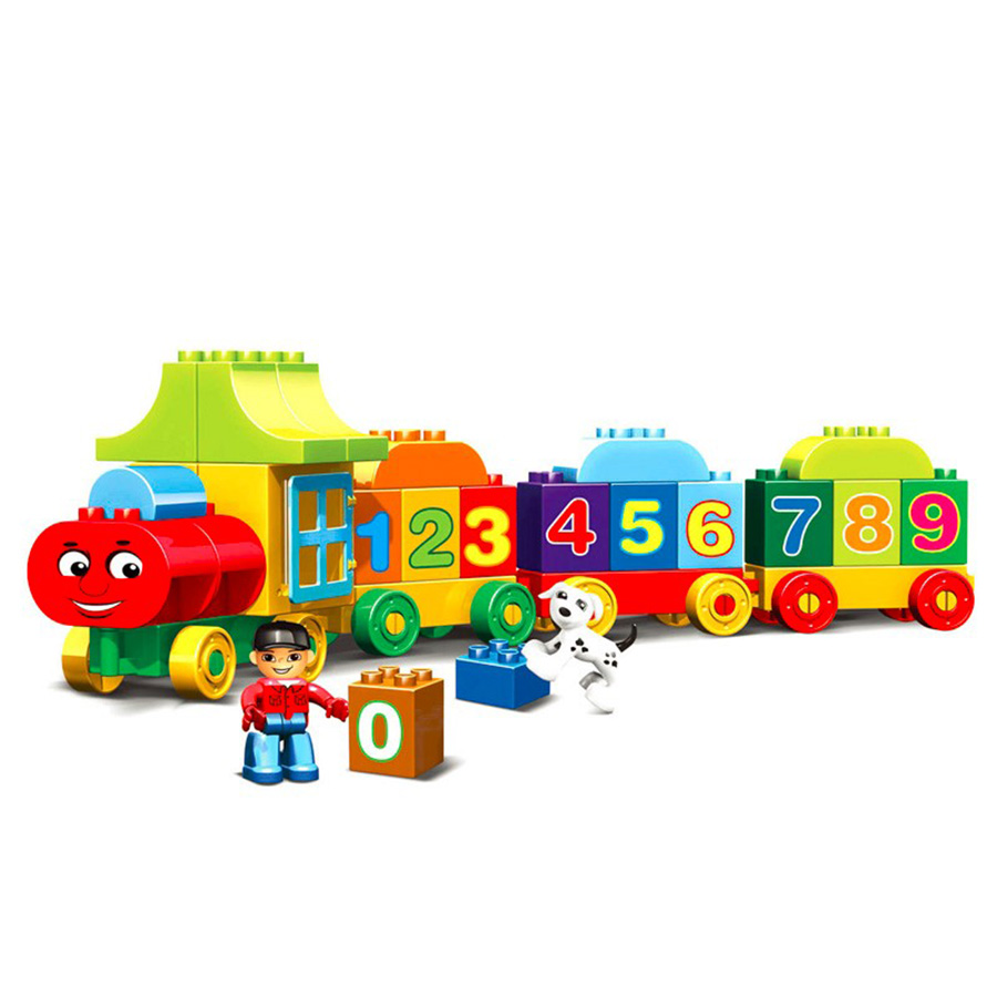 Image 2 - 50pcs Legoings Duplo Number Train Large particles Building Blocks Train Number Bricks Educational Baby City Toys For Children-in Blocks from Toys & Hobbies
