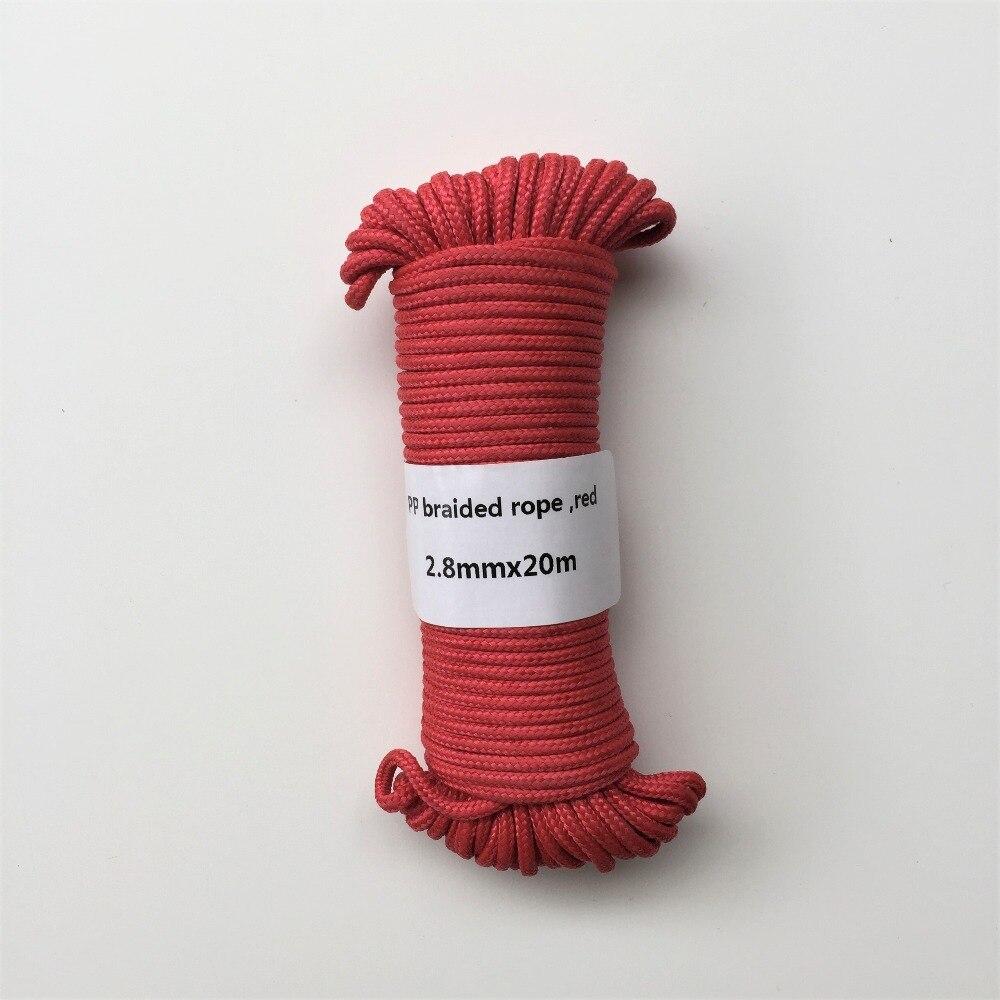 Röd 2,8mmx20m flätad polypropen rep PP häng tagg kläder linje - Konst, hantverk och sömnad