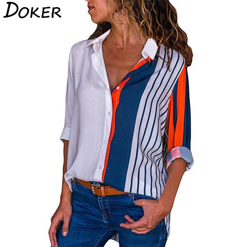 2019 New Fashion Print Women   Blouses   Long Sleeve Turn-down Collar Chiffon   Blouse     Shirt   Casual Tops Plus Size Elegant Work   Shirt