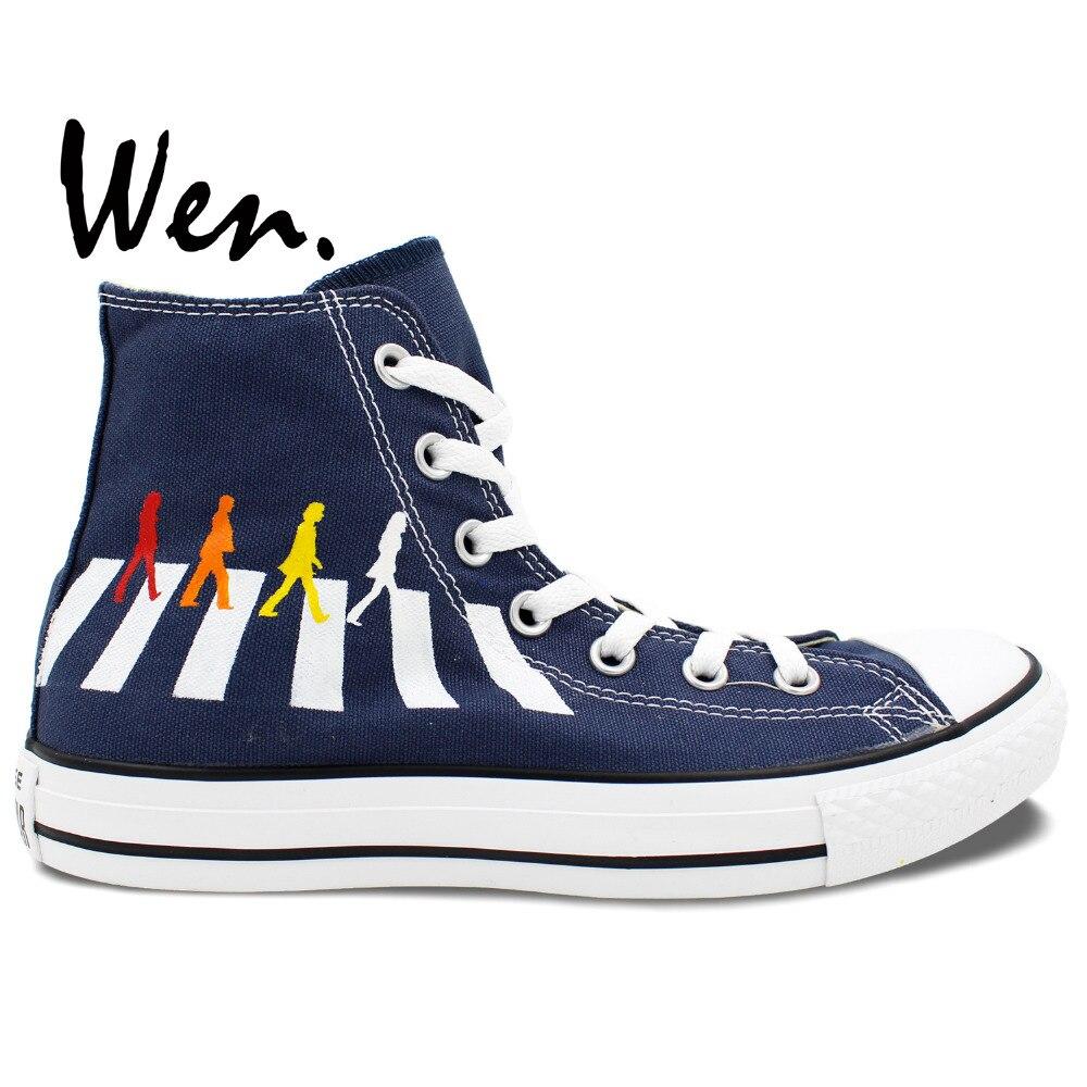 Prix pour Wen Peint À La Main Chaussures Custom Design The Beatles Abbey Road Bleu de Haute Top Homme Femme Toile Sneakers pour Cadeaux