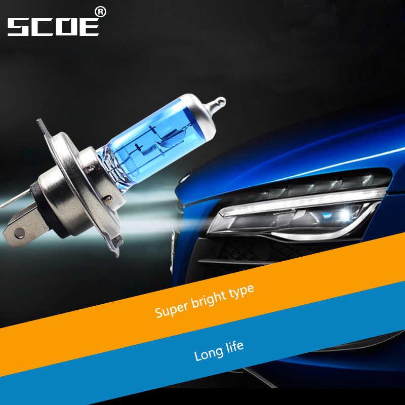 SCOE 2PCS H1/H4/H7 Auto Car Light 55W 12V High/Low Beam Super Bright Halogen Bulb Headlight car-styling Warm White