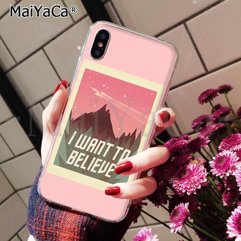 MaiYaCa X Files ฉันต้องการที่จะเชื่อ DIY โทรศัพท์กรณีสำหรับ iPhone ของ Apple iPhone 8 7 6 6S PLUS X XS MAX 5 5S SE XR