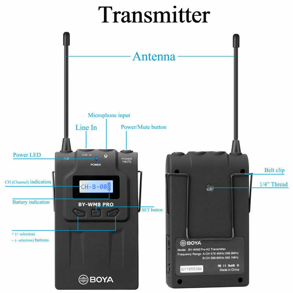 Boya By Wm8 Pro K2 Uhf Dual Channel Wireless Microphone For Canon