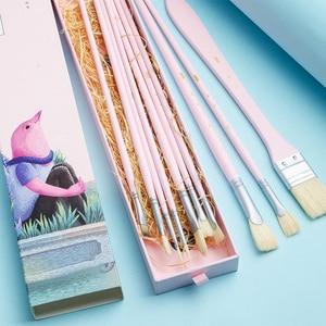 Image 3 - MIYA 10 PCS Artist Paint Brush Set Bristle Hair Watercolor Acrylic Oil Painting Brushes Art Supplies
