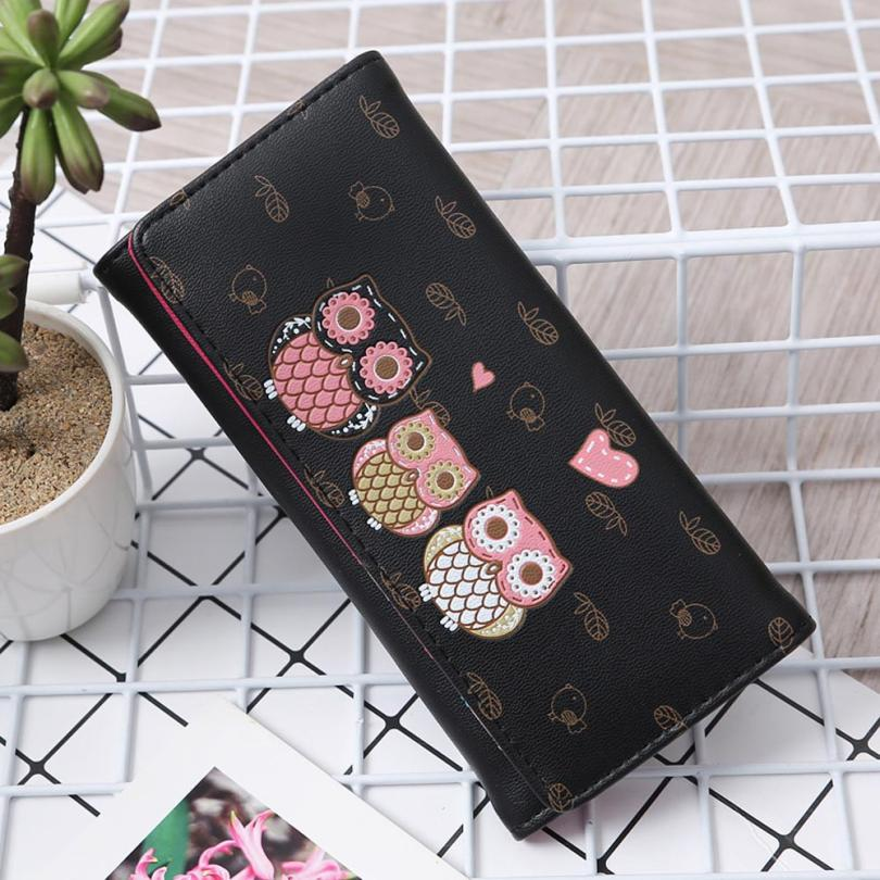 Maison Fabre Womens Wallet 2018 Summer Fashion Women Simple Retro Owl Printing Long Wallet PU Hasp Coin Purse May16