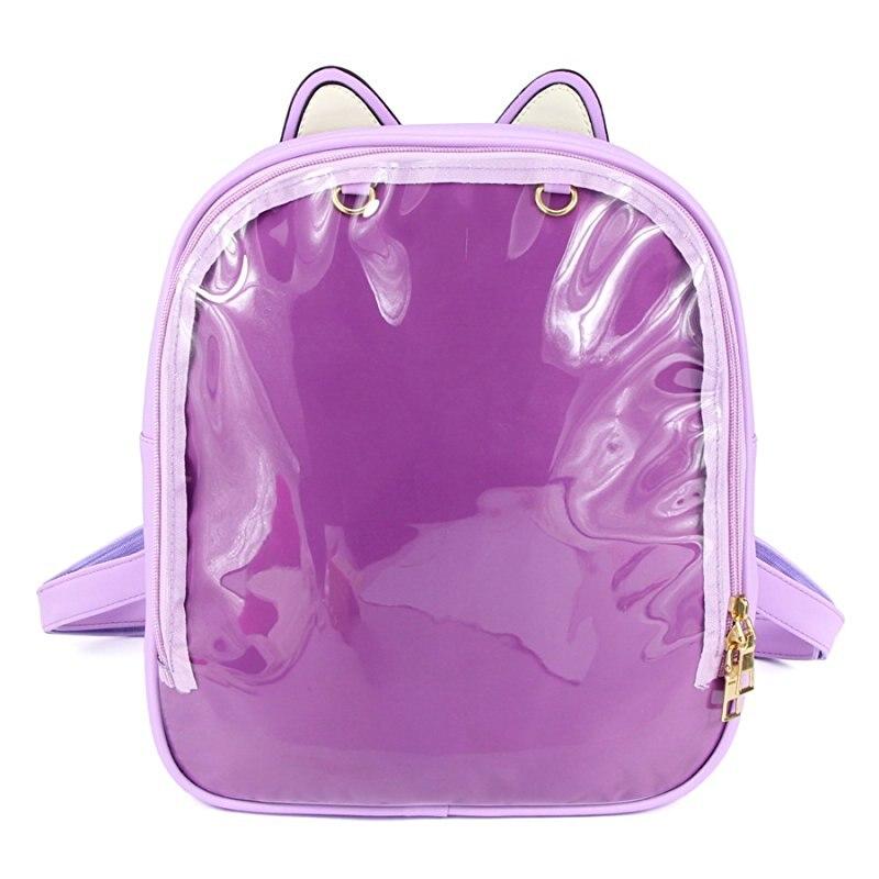 Прекрасный кошачьи уши Конфеты кожаный рюкзак Прозрачные Пляжные рюкзаки для девочек-подростков детская школьная сумка Itabag Mochila Infantil
