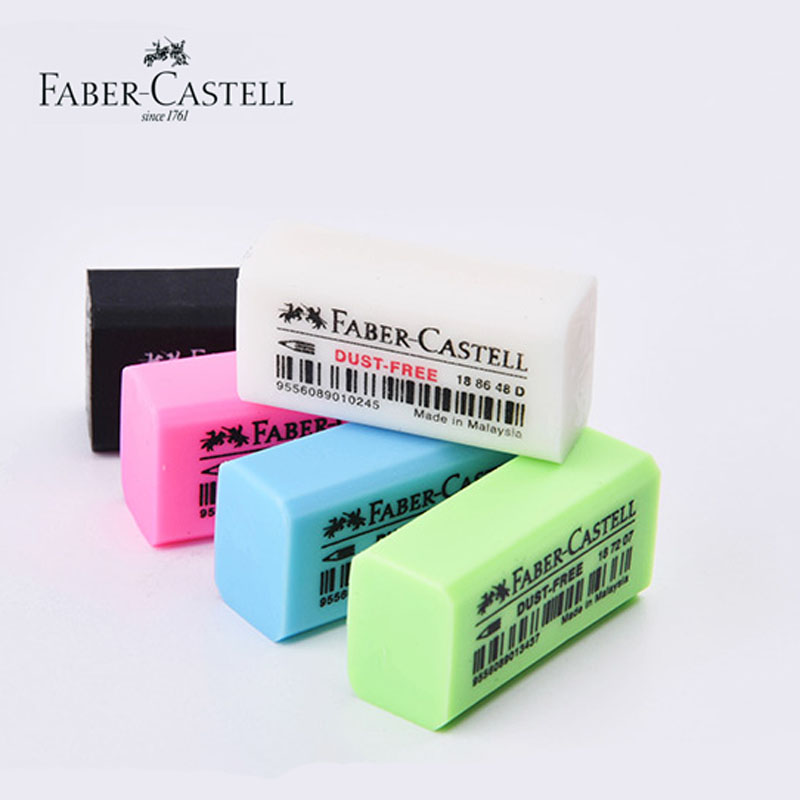 Faber Castell 1872 Mini Dust Free Erasers Art Drawing Exam Office Pencil Eraser White/Black Rubber for Blacklead/Colored Pencils faber jolie black glass a80