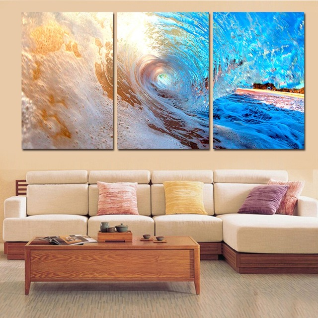 158825de37a Printed 3 piece canvas art ocean wave sunset sea Painting canvas painting  wall art Free shipping