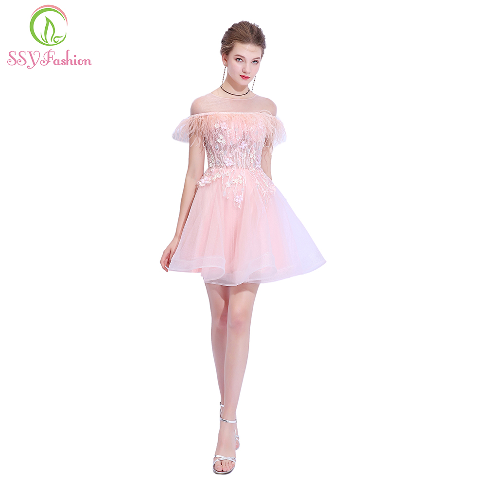 SSYFashion New Sweet Pink Girl   Cocktail     Dresses   Exquisite Handmade Beading Lace Appliques Mini Formal Party Gown Robe De Soiree