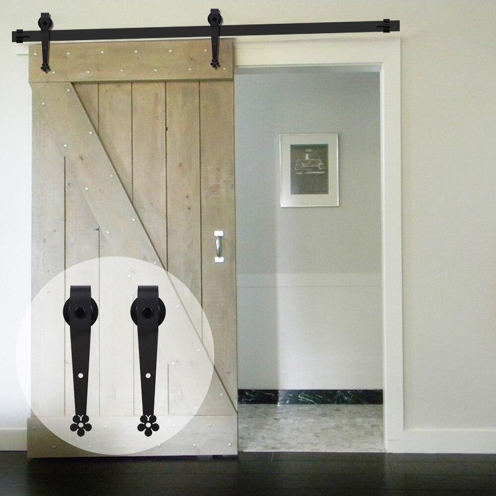 LWZH Anquite Style En Bois porte coulissante Matériel porte de baignoire Noir Carton Acier fleur de prunier En Forme de Rouleau pour Porte Simple