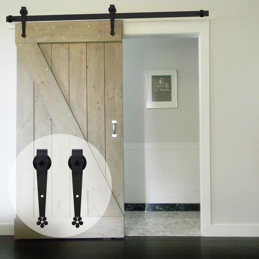LWZH Anquite Style Wooden Sliding Barn Door Hardware Bathroom Door Black Carton Steel Plum Flower Shaped Roller For Single Door