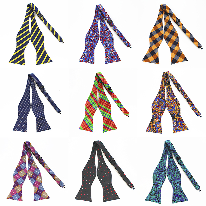 JEMYGINS New 100% Adjustable Silk Men's Bow Tie Luxury Solid Color Bow Business Party Wedding Bow Tie