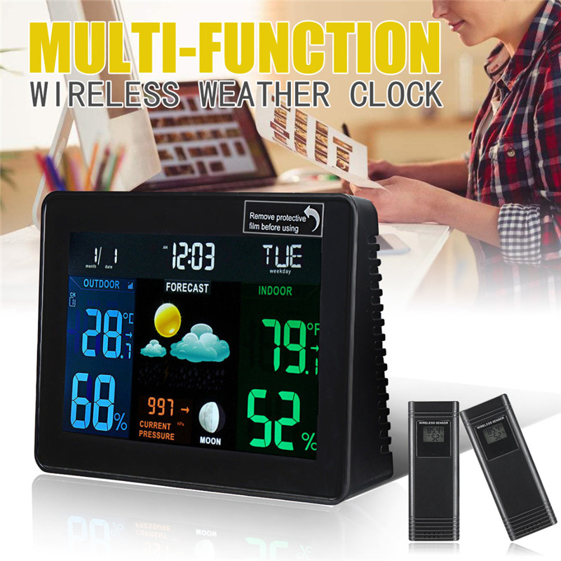 Mayitr 1pc Multi-function Wireless Weather Station Clock Digital Temperature Humidity Meter US Plug for In/Outdoor digital indoor air quality carbon dioxide meter temperature rh humidity twa stel display 99 points made in taiwan co2 monitor