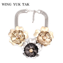 wing yuk tak Statement Maxi Necklaces Pendants Hyperbole Metal Flowers Choker Collar Necklace For Women 2018 New Gothic Jewelry