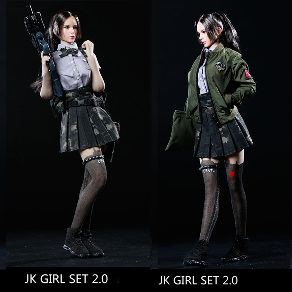 1/6 Scale Sexy Female Soldiers Model JK GIRL SET2.0 Armed female student senior Clothing set For 12