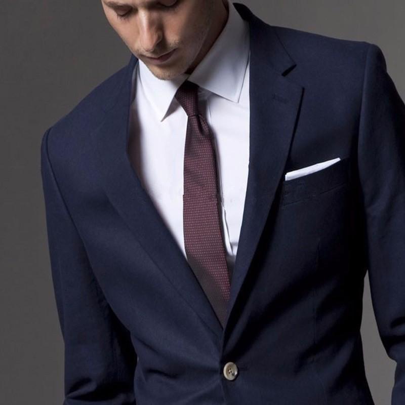 Los hombres de lana trajes de Tweed 3 unidades Formal solapa muesca esmoquin  chaqueta Slim Fit 2fc209a05ca