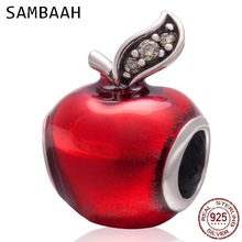 Sambaah Snow White Red Apple Charm with CZ 925 Sterling Silver Red Enamel Apple Beads fit Pandora DIY Christmas Bracelet SS3262 christmas trees red apple crystal cz 925 bracelet