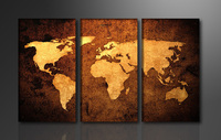 3 Panels Yellow World Map 3 Panels HD Great Canvas Print For Living Room Wall High