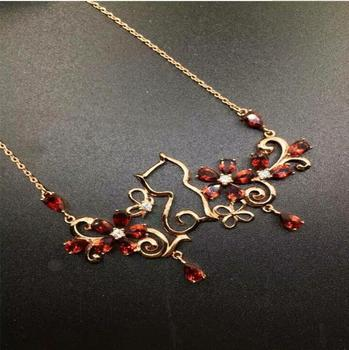 Free shipping Natural garnet necklace pendant Real origin red garnet 925 sterling silver Fine jewelry 4*6mm 18pcs