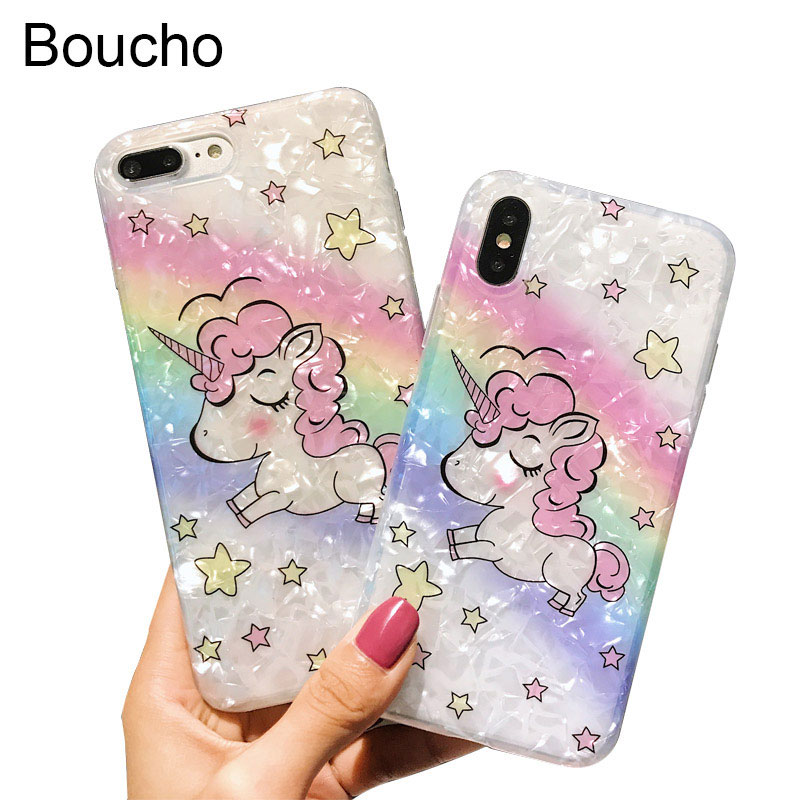 Boucho Colourful Rainbow Star Pattern Case For iphone X 7 8 6 6S Plus Thin Soft IMD Phone Cases Cute Cartoon Unicorn Cover Coque
