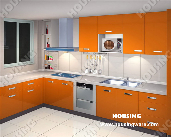 wifes love sweety home with orange color for kitchen design(lacquer ...