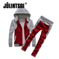 Jolintsai 2017 Sportwear Men Zipper Hoodies&Sweatshirts+Pants Tracksuit mens Moleton Masculino Set For Women/Men Hoodie