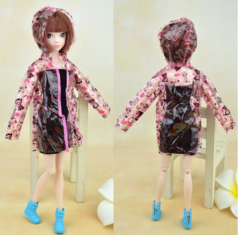 High Quality Transparent Pink Jacket Raincoat Clothes For Barbie Doll Rainwear Rainsuit For 1/6 BJD Doll Cosplay Costume