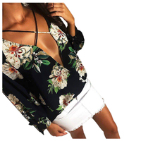 New Summer Cross Lace Up Sexy Loose Chiffon Blouse Women Deep V Neck Floral Print Ladies