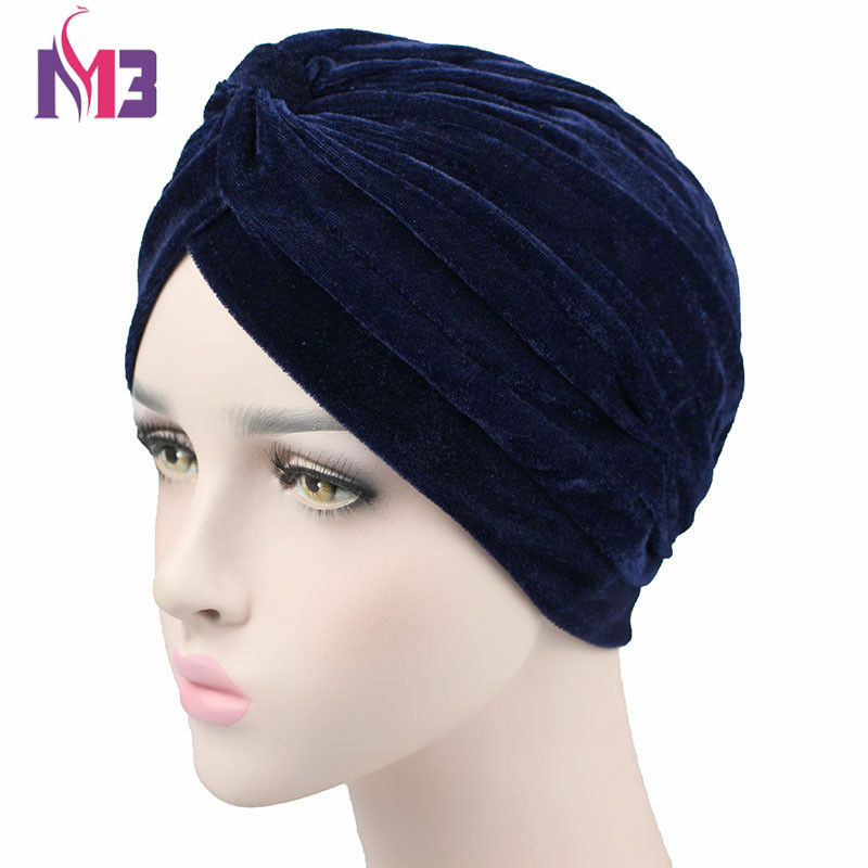 New Fashion Celeb Style Neon Casual Double Stretch Velvet Turban Headwrap Turbante Hat Women Hijab Headwear ...