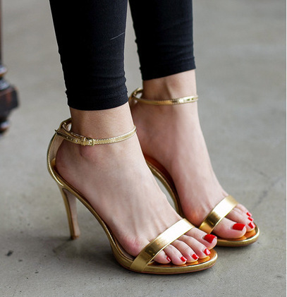 spring 2014 womens high heels sandals gold/silver japanese