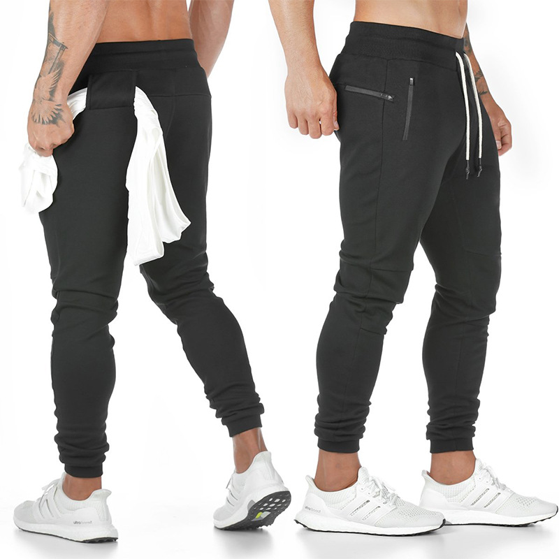 2019 New Cotton Men Sweatpants With Towel Rack And Cell Phone Pocket Running Tights Pants Men Sporting Leggings Workout Pants