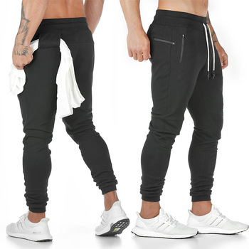 New Cotton Men Sweatpants with Towel Rack and Cell Phone Pocket Running Tights Pants Sporting Leggings Workout