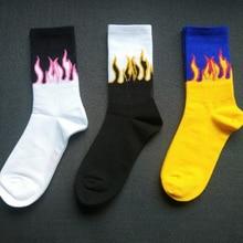Харадзюку, мужские носки, повседневная хлопковая, с принтом в виде пламеней, в стиле хип-хоп, для мужчин и женщин, забавные, унисекс, уличные, для скейтборда, теплые, модные, длинные носки