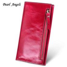 Женские кошельки из натуральной кожи с жемчугом Angeli, длинный кредитный держатель для карт, Женский кошелек с отделением для монет, клатч, женский кошелек