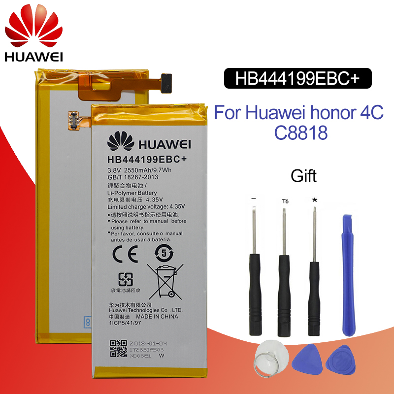 Original Battery For HUAWEI HB444199EBC+ 2550mAh For Huawei Honor 4C C8818 CHM-UL00 CHM-TL00H CHM-CL00 Replacement Phone Battery