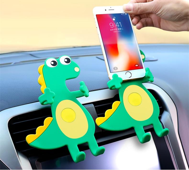 1 Stuk Flexibele Zachte Rubber Auto Houder Leuke Dinosaurus Air Vent Mount Auto Telefoon Houder Siliconen Mobiele Telefoon Houder Universele