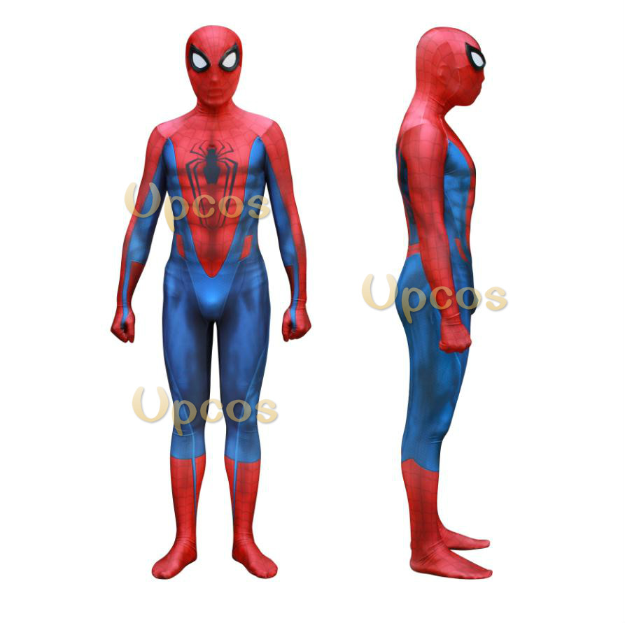 New Upcos PS4 Spiderman Suit red blue Kids/Men Spiderman Costume Halloween Christmas Cosplay Zentai Costumes