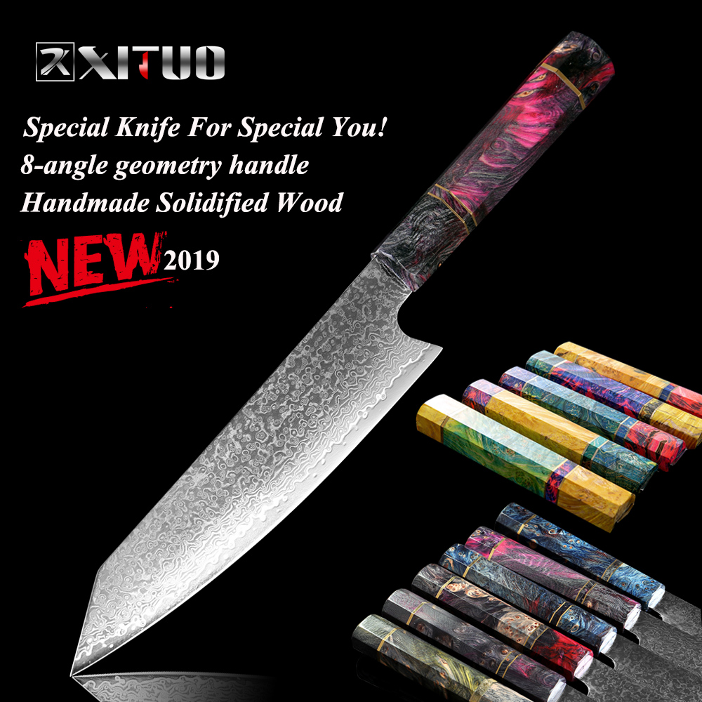 XITUO 8 inch Damascus Chef Knife Japan vg10 Damascus High Carbon Steel Kitchen 8 Angle Solidified