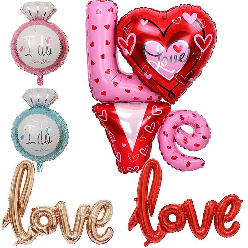 Large 8090cm wedding foil ballons ligatures love letter for I love you letter balloons