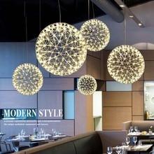 LUNICOO Metal Pendant Lamp Modern LED Firework Ball Pendant Lights Silve Hanging Lamps Ball Pendente iliminacao sala de jantar
