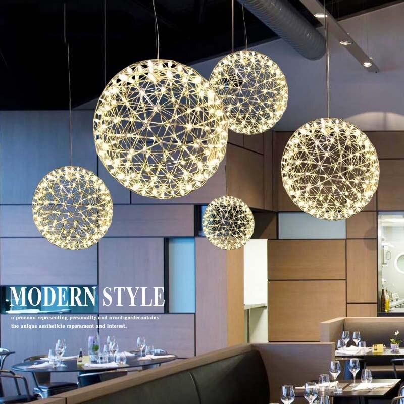 TZ Métal Pendentif Lampe Moderne LED Feu D'artifice Pendentif Boule Lumières Silve Suspendus Lampes Balle Pendente iliminacao sala de jantar