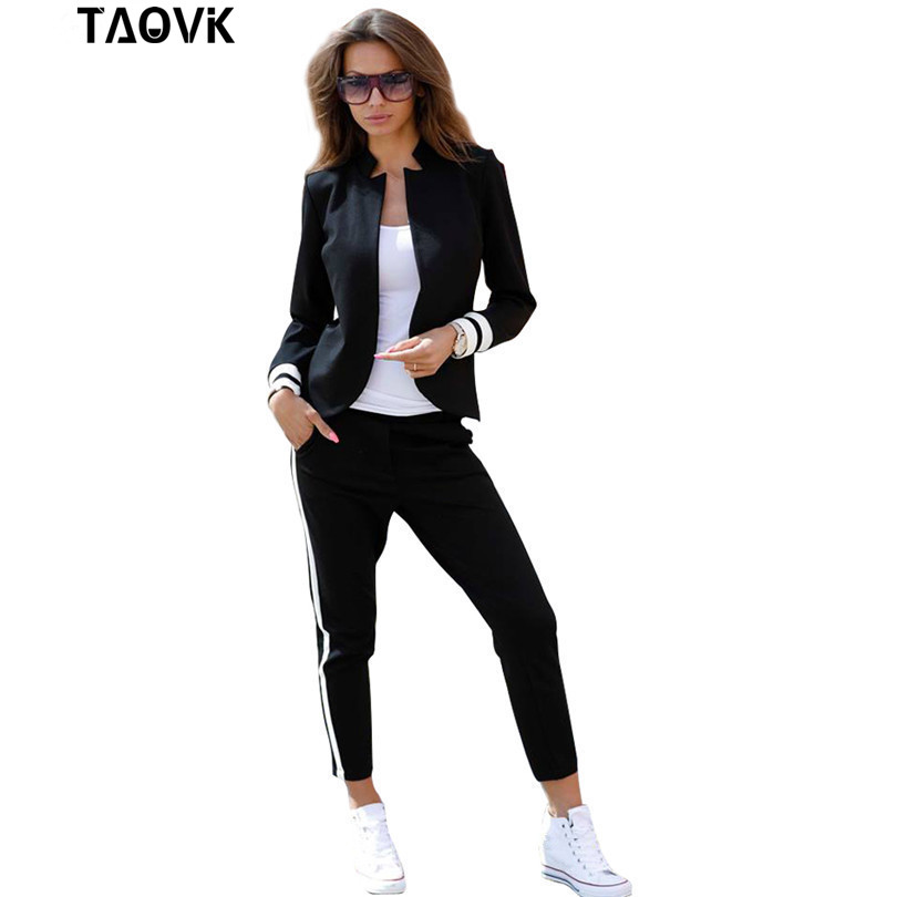 TAOVK women 2 two Piece Set suits Long sleeve stand up collar buttonless Black and white tracksuit-in Women's Sets from Women's Clothing