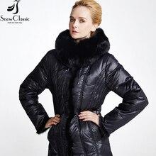 Snowclassic Women's Winter Jacket 2016 Coat Plus Size 6xl Jacket Real Fox Fur Collar Female down Jacket Winter 358