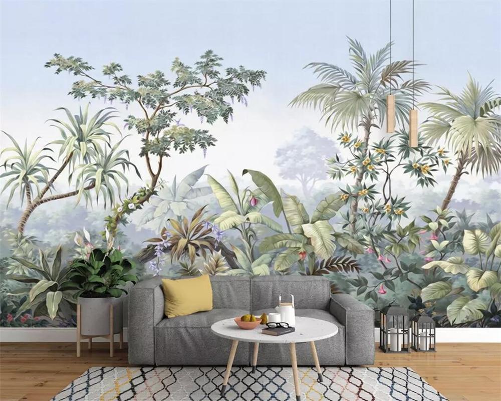 Beibehang wallpaper European retro hand drawn garden trees rainforest banana coconut tree wall ...