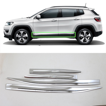 Car Accessories Exterior Decoration ABS Chrome Side Door Car Body Molding Strips Cover Trim For Jeep Compass 2017 Car Styling