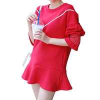 2017 Autumn Knitted Dress Women Ruffles Trumpet Sleeves Loose Dress Red Patchwork Cute Mini White Dresses