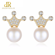 DR Brand Hot Sale Crown Natural Freshwater Pearl Earrings with Real Genuine Charms Silver 925 Romantic Jewelry for Women Gift
